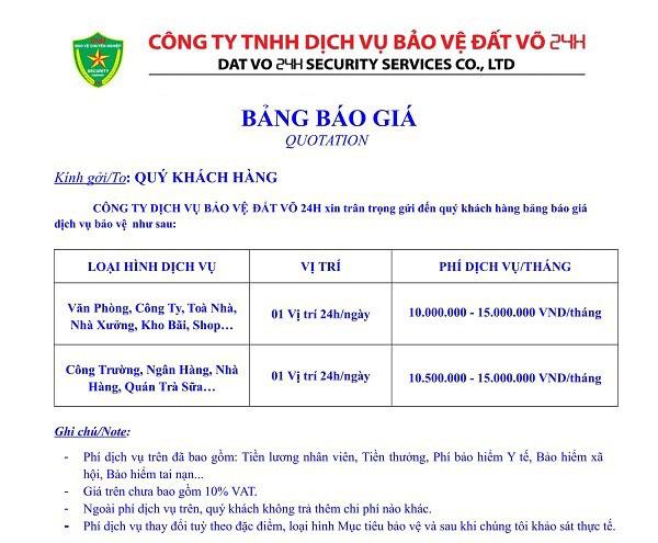 Bảng giá dịch vụ bảo vệ tại huyện Hóc Môn