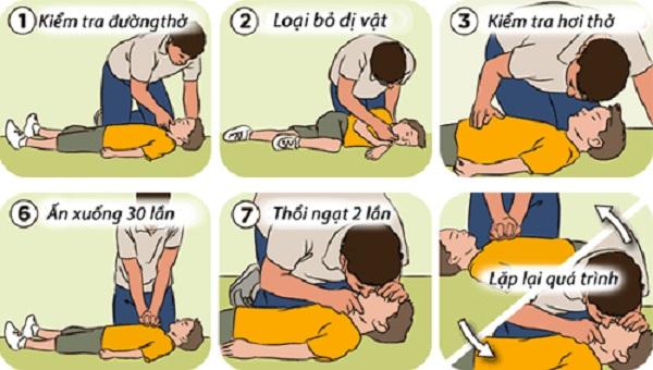 Kết hợp hô hấp nhân tạo và ép tim lồng ngực để nạn nhân có thể thở trở lại